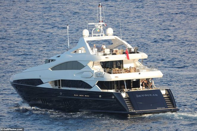 After making her complaint police raided McGregor's 32m long Sunseeker yacht which can be chartered for £100,000 a week (pictured). McGregor left the port on the yacht, called the DevOcean, on Sunday - the day after being released