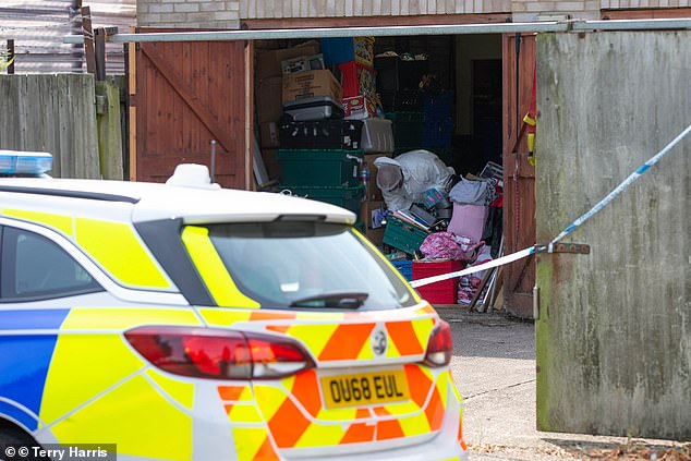 Police had been searching Bernadette's family home in the Millfield district of Peterborough last week, but have now cordoned off garages in Churchfield Road, Walton to the north of the city