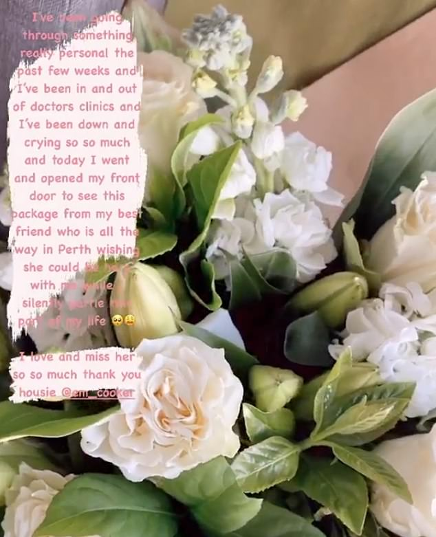 Fragrant: At the time, Jessika also shared a photo of a bouquet of roses she had received from her best friend in Perth
