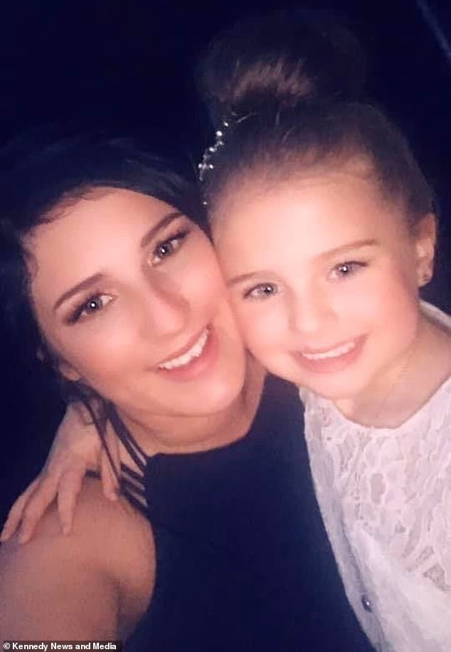 After Sophie was handed the beautiful bunch of flowers, she announced to her mother, Jacklyn, 29, (pictured together) 'I love him to bits' before vowing to return the gesture