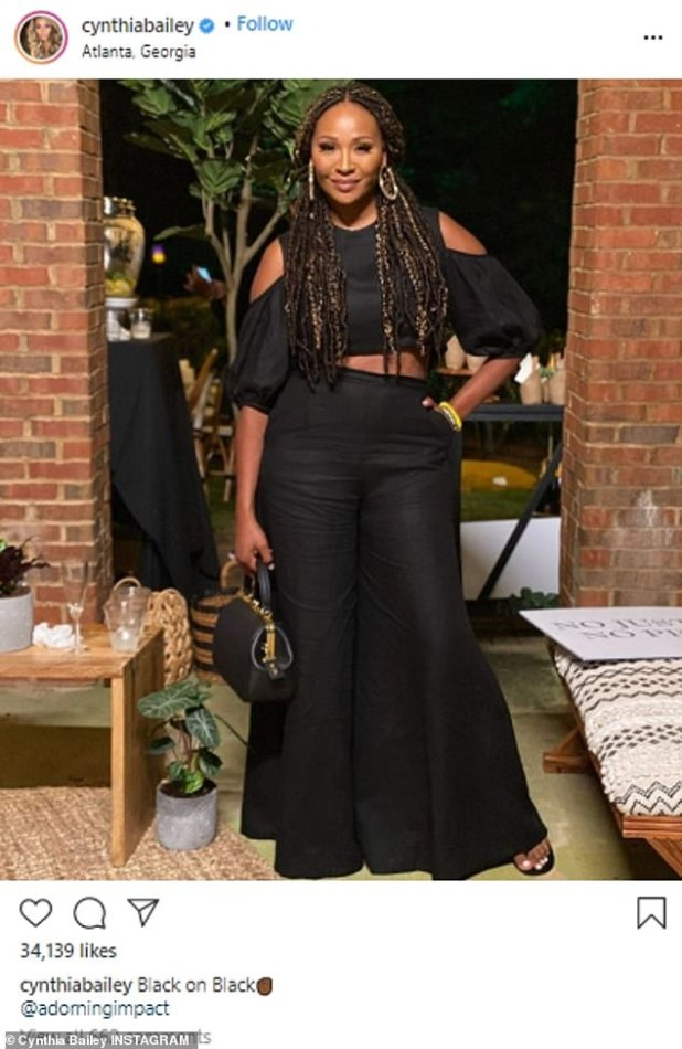 Queen: Cynthia Bailey made sure the cruel trolls knew online that her words did not hurt her feelings after she shared a picture of herself wearing a linen crop top with Milan Slack on Monday.
