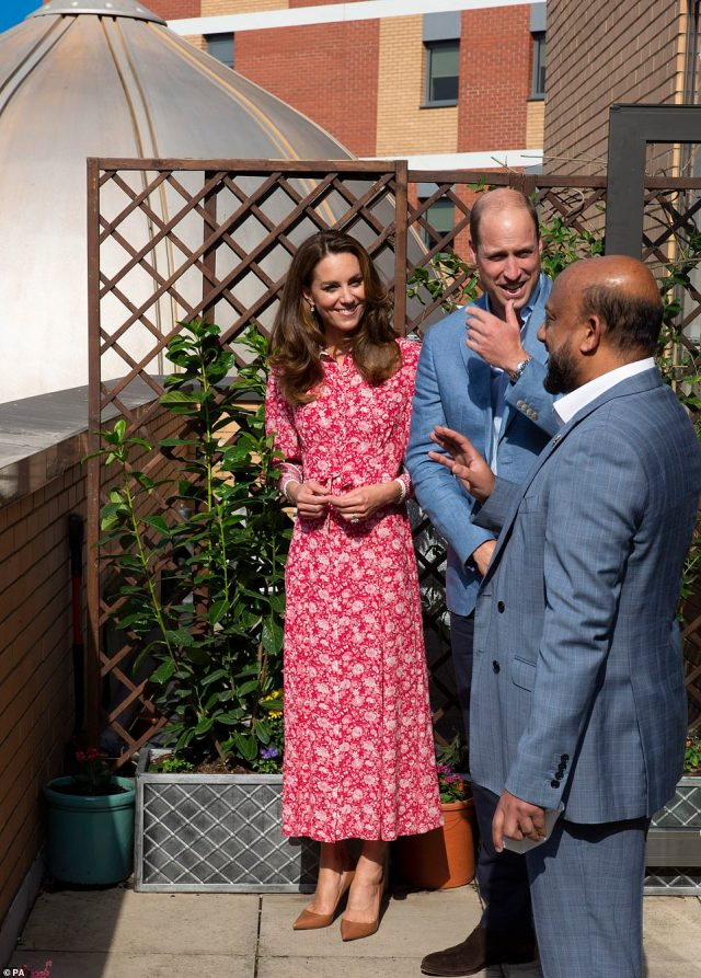 The Duke and Duchess appeared in high spirits as they visited the East London Mosque where they chatted to volunteers who cooked and delivered meals to vulnerable members of the community during the pandemic