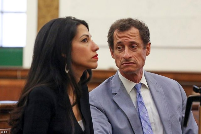 In 2017, Weiner admitted to sexting with a 15-year-old girl, following a DailyMail.com investigation (pictured above with Abedin)