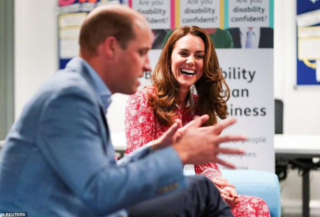 The Duke and Duchess of Cambridge, both 38, appeared in high spirits as they stepped out for several engagements in London today and visited local businesses across the east-end of the city