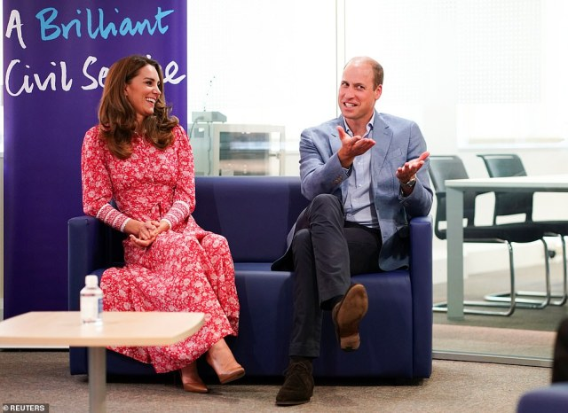 Earlier in the day, the Duke and Duchess spoke with people who found work through a job centre, at the London Bridge Jobcentre