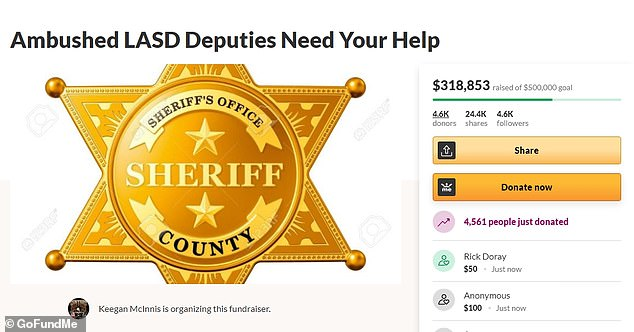 A GoFundMe page , set up by Keegan McInnis Monday to help cover the costs off the officers' medical bills, has already reached a staggering $318,850 as of late Tuesday morning