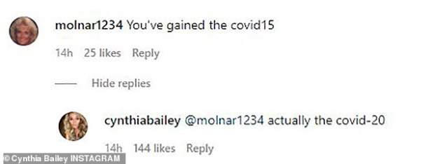 not so fast!  Bailey took the comment out loud and trusted the online troll that he actually received more: 'Kovid-20 indeed'