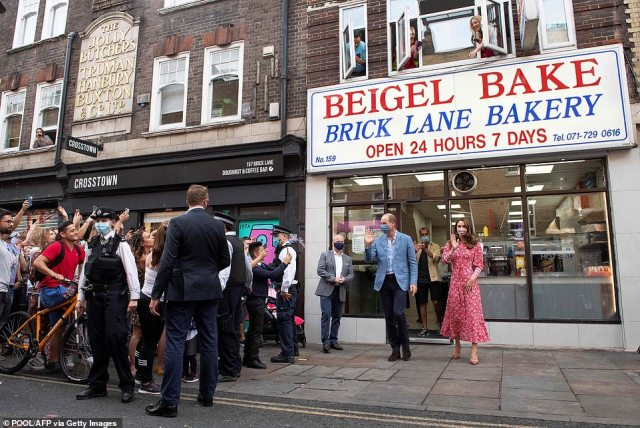 Small crowds of excited royal fans had gathered outside the bakery as the Duke and Duchess left the local business in London's Brick Lane