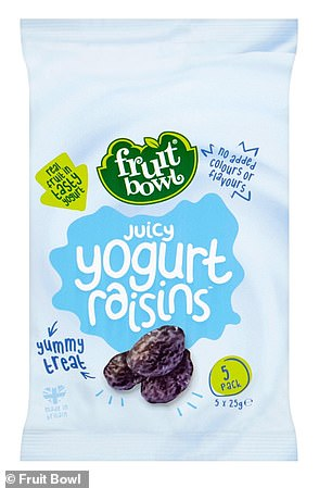 Fruit Bowl Juicy Yogurt Raisins 5 x 25g: 16g per serving (4 tsps)/66g per 100g