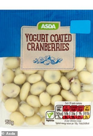 Asda Yogurt Coated Cranberries 150g: 19g per serving (4.8 tsps)/63g per 100g