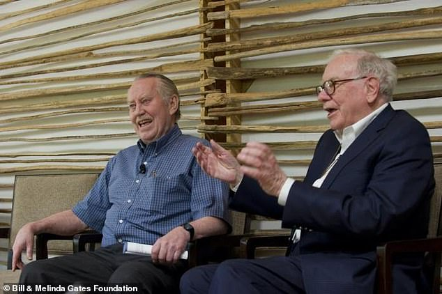 'Chuck was a cornerstone in terms of inspiration for the Giving Pledge,' Warren Buffett said. 'He's a model for us all. It's going to take me 12 years after my death to get done what he's doing within his lifetime.' Feeney left and Warren Buffett right