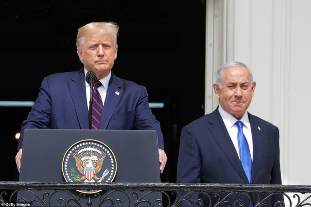 President Donald Trump and Prime Minister of Israel Benjamin Netanyahu on the balcony at the White House