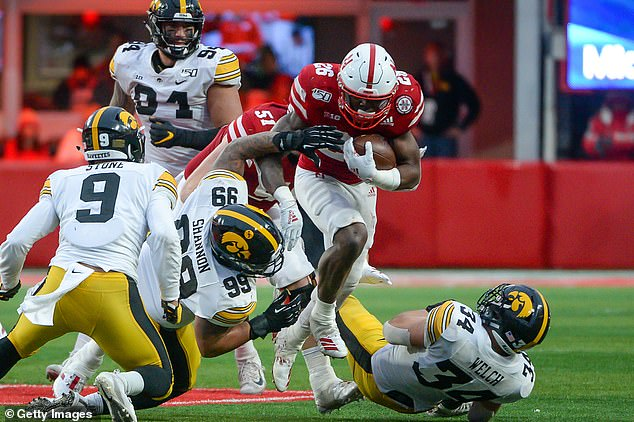 Cornhuskers running back Dedrick Mills is seen playing against Iowa during the 2019 season