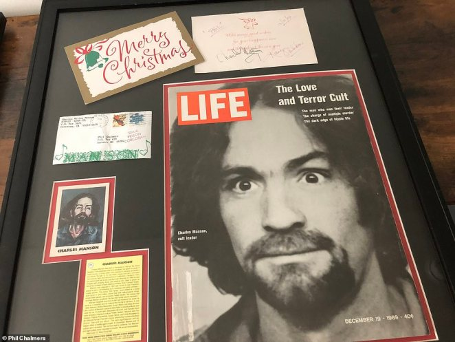 'You get things. You get letters. You get Christmas cards. You get paintings,' Chalmers told DailyMail.com. Above, a Christmas card from Charles Manson, a cult leader whose followers committed murders, including killing actress Sharon Tate in 1969. Manson was convicted of first degree murder for several deaths and died in a California prison in 2017 at the age of 83