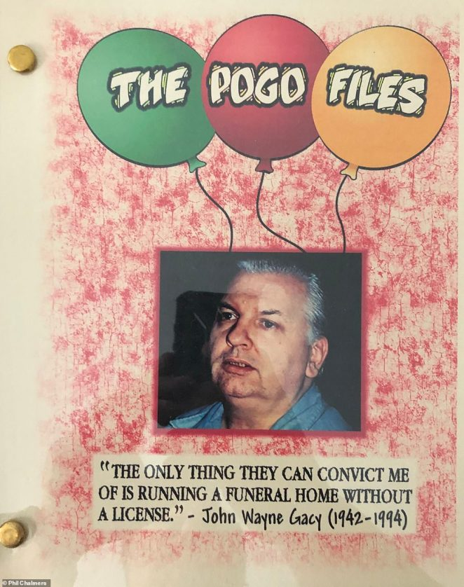 John Wayne Gacy was a notorious serial killer, known as the Killer Clown, who was convicted of killing 33 people. He died by lethal injection in 1994 at the age of 52. Chalmers said that Gacy wrote two books, one of which is seen above. 'They never got published,' Chalmers said
