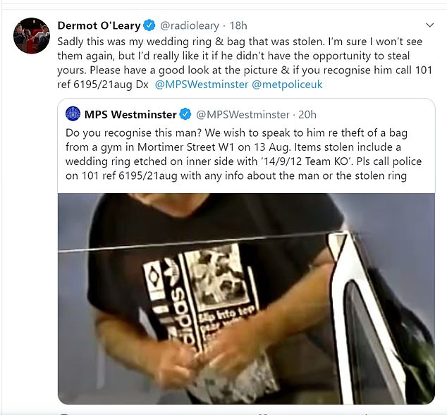 Appeal:Last month Dermot revealed his wedding ring was stolen from a gym and shared a police appeal on Twitter to find the thief