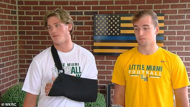 Brady Williams (left) and Jarad Bentley (right), students at Little Miami High School in Ohio, were later reinstated to the team after the pre-game incident on Friday, September 11