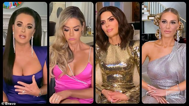 Later in the show some of the RHOBH cast struggled to believe Brandi's claims, but when she produced a series of text messages proving her and Denise were close most of the women began to back her