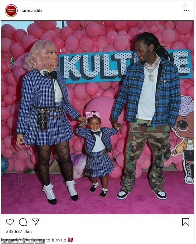 In her divorce filing, she 'is seeking primary physical custody as well as legal custody' of their little girl; seen on Instagram at Kulture's second birthday party