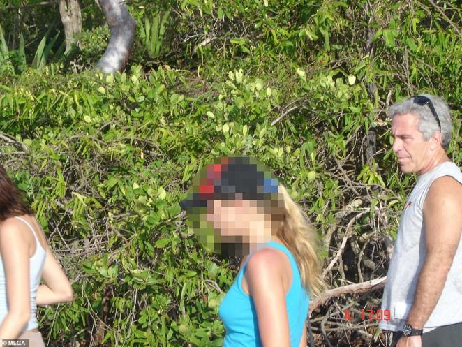 The billionaire's secret life at his opulent hideaway home - purchased in 1998 for $7.95M - has been shrouded in mystery, despite claims that American politicians, Hollywood stars and world dignitaries including Prince Andrew would visit as his guests. Pictured: Epstein on a hike with three young women