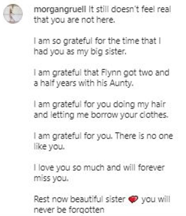'You will never be forgotten': Morgan remembered her 'beautiful big sister' on Tuesday in an emotional Instagram post (above), saying she will 'forever miss' her