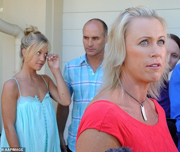 Jaimi (left), the eldest daughter of Aussie sporting power couple Grant Kenny (centre) and Lisa Curry (right), died at the age of 33 on Monday after battling an eating disorder. Picturedon the Sunshine Coast onApril 3, 2008