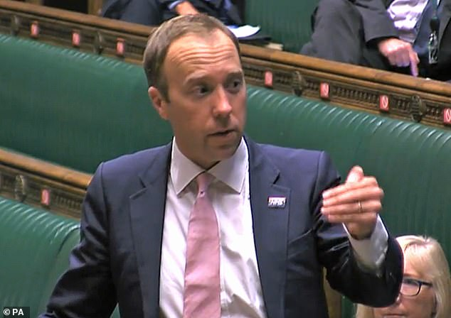 Facing questions in Parliament yesterday, Health Secretary Matt Hancock (pictured) admitted that 250,000 Britons are waiting for test results thanks to a mammoth backlog