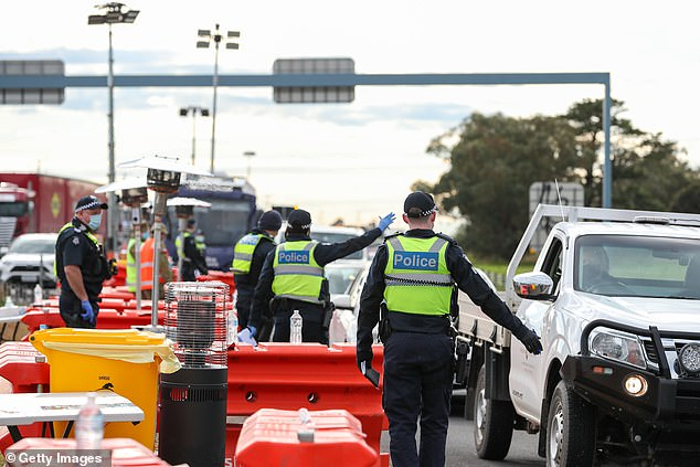 The ring of steel will tighten around Metropolitan Melbourne's city borders with increased police checks (police checkpoint pictured) as regional Victoria lifts coronavirus lockdown