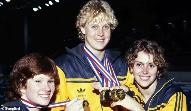 Wickham (left) and Curry (centre) show off their medals after the 1982 Commonwealth Games in Brisbane, where both were Australia's golden girls of the pool
