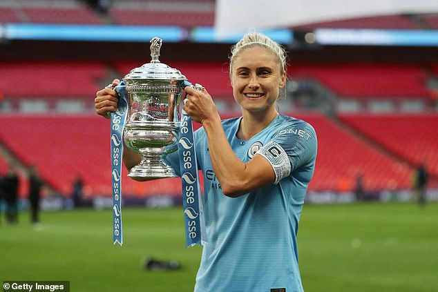 Manchester City Women captainSteph Houghton with the FA Cup after side won it last year
