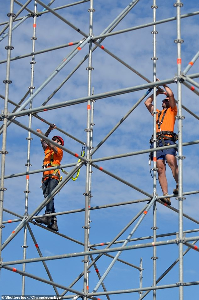 The professor warned that daylight saving also prompted more workplace accidents (construction site in Sydney pictured) causing both economic and physical harm