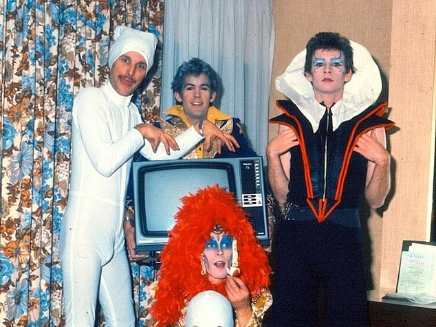 The band were inducted into the ARIA Hall of Fame in 1992 after achieving multiple number one albums and top rating singles (Pictured are several of the band's members in their typical lairish outfits)