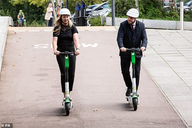 Local authorities, including in Milton Keynes, above, have been able to launch 12-month pilots into e-scooter rental around towns and cities. But pedestrians have complained about riders