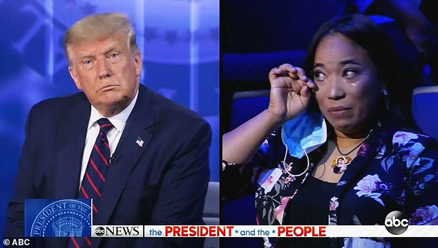 Flora Cruceta (right) who told the president (left) that she and her mother had emigrated from the Dominican Republic in 2006, fought back tears as she spoke to Trump during an ABC town hall event on Tuesday, hosted in the key battleground state of Pennsylvania