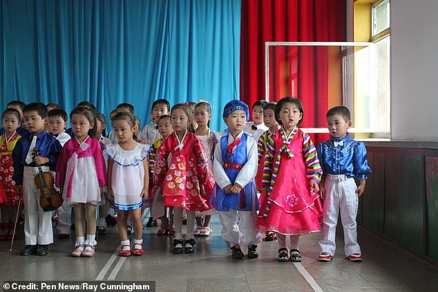 North Korea has tripled the dose of propaganda taught to children, so now leader-worship makes up half of the school day, under new orders handed down by Kim Jong Un's sister. A North Korean school pictured above