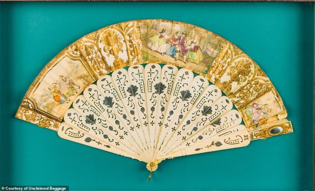 This 'beautiful', hand-painted 'flirting fan' (actual item pictured) from the Victorian period turned up at Unclaimed Baggage