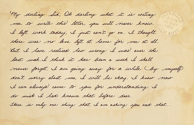 Two days after Daphne disappeared a letter in her handwriting arrived at his western Sydney home. 'My darling Sid,' the 39-year-old began the note. 'Oh darling what it is costing me to write this letter, you will never know.' The letter's words are reproduced in this image