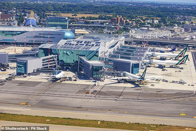 Skytraxrevealed that the daily passenger numbers at Fiumicino (pictured) are at approximately 30 per cent of the usual levels, but that the airport 'remains quite busy and vibrant' - this is partly because operations have been consolidated to one terminal