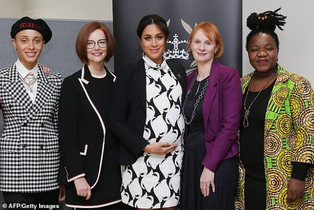 Duchess of Sussex at Camden's regional director Angeline Murimarva (right), model Advoa Aboa, former Prime Minister of Australia Julia Gillard and journalist Annie McElvoy at a Women's Day event in London in March 2019