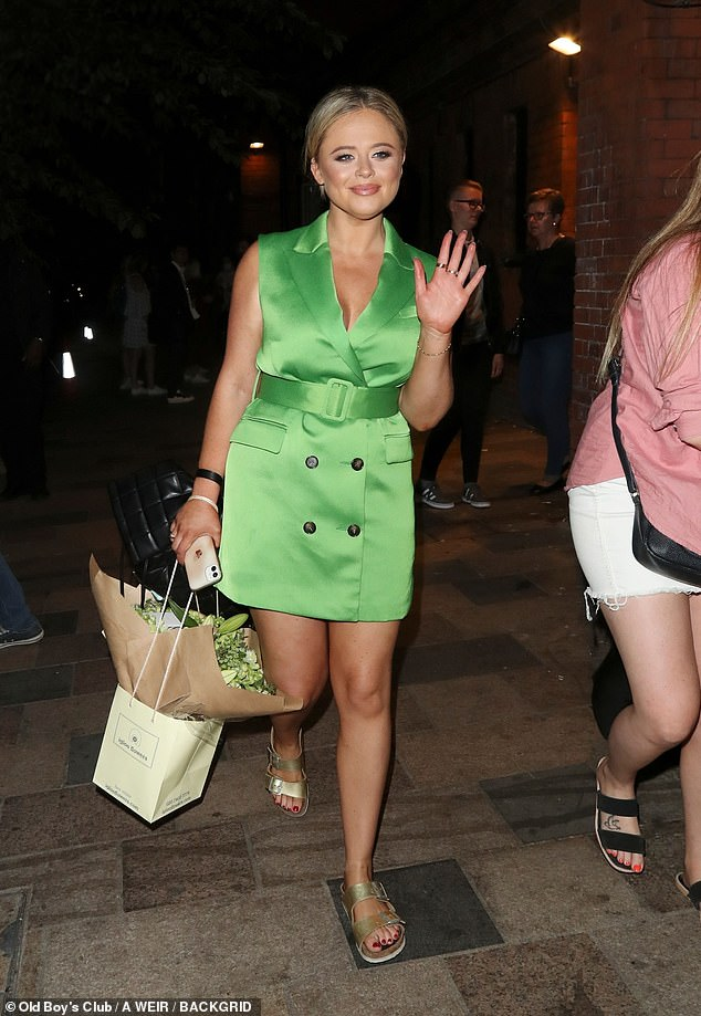 Strutting her stuff:Emily Atack proved herself to be quite the leading lady as she stepped out on Tuesday while sporting an elegant blazer dress in a stunning green hue