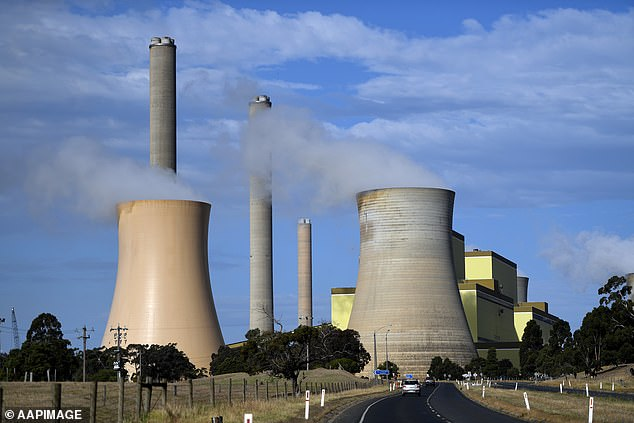 The government will also set up a $50million Carbon Capture Use and Storage Development Fund which will pay for projects to capture carbon emissions. Pictured: La Trobe Valley power station in Melbourne