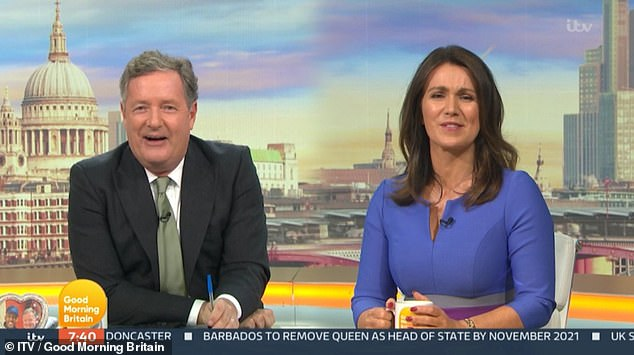 Fuming:Piers Morgan branded Madonna 'embarrassing and pathetic' during a hilarious Good Morning Britain rant on Tuesday following news she would be directing her own biopic