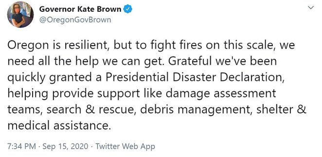 Gov. Kate Brown thanked Donald Trump Tuesday for declaring a major disaster to get extra federal assistance as the state reels from a spate of wildfires