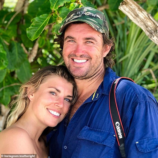Matt Wright is a helicopter pilot and wildlife relocator who is also the star of the National Geographic show 'Outback Wrangler' and his new show, 'Monster Croc Wrangler'. He is pictured with his wife Kaia