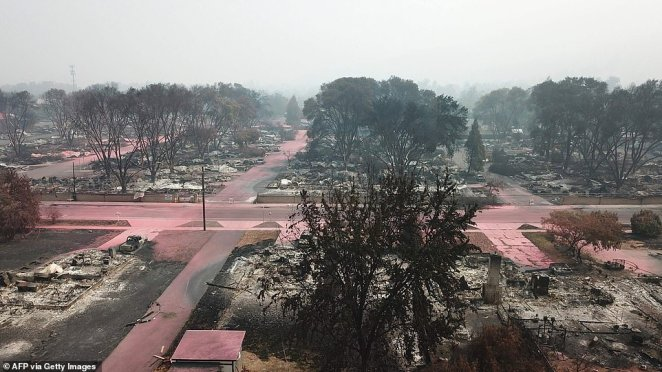 Streets were empty on Tuesday and the sky covered in smoke in Talent, Oregon where locals were evacuated due to the blaze