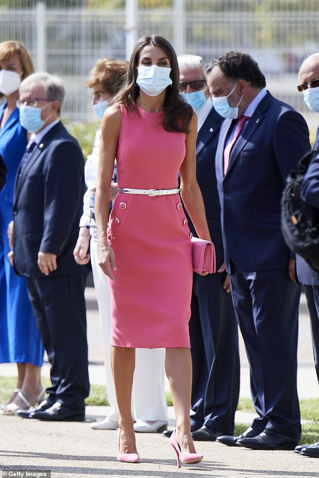 Letizia stunned in a recycled Micharl Kors dress in pink she first wore for audiences at Zarzuela Palace in 2019