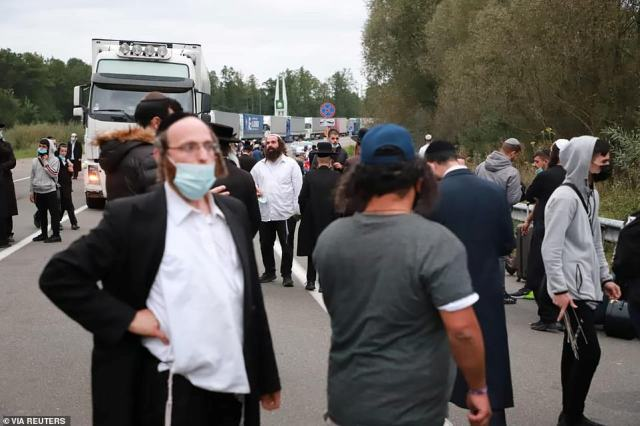 Jewish pilgrims, who plan to enter Ukraine from the territory of Belarus, gather at Novi Yarylovychi crossing point in Chernihiv Region, Ukraine