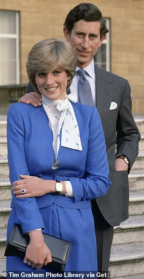 Born into the aristocracy, Lady Diana developed a signature style that included pussy-bow blouses and twee skirts that fell below the knee. Pictured, on her engagement to Prince Charles