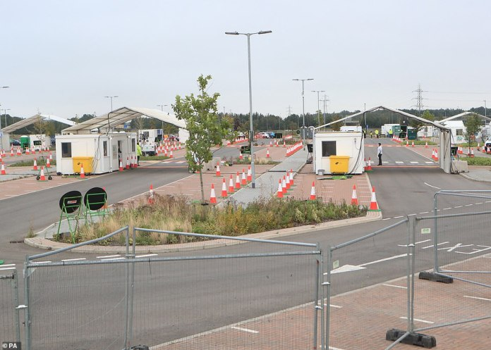 Coronavirus testing centres have been pictured empty today despite hundreds of people saying they cannot book an appointment online. Meanwhile the company that runs them, Sodexo, is recruiting more staff and officials will say only that they are diverting capacity to badly-hit areas (Pictured: A test site in Leeds)