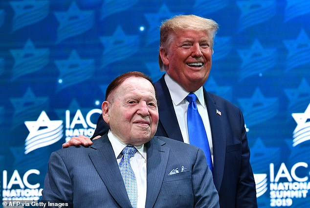 Adelson (left) and Trump (right) were photographed together at the 2019 Israeli American Council National Summit in Florida. Adelson has had significant clout in the Republican Party, donating millions to GOP candidates